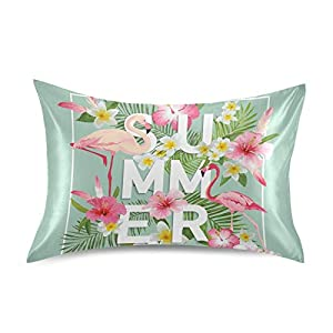 GIGIBE Summer Tropical Flower Flamingo Leaves Bulk Satin Pillowcase for Hair and Skin Neck Pillow Soft Silk Pillowcase Covers for Bedroom Guest Room Sleeping Travel Envelope Closure Queen Size