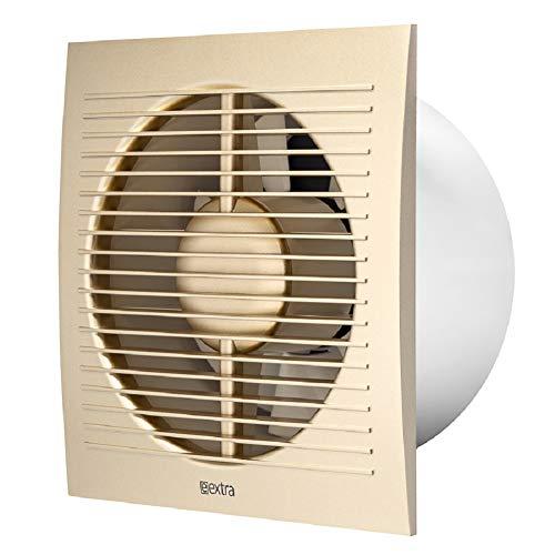 Ø 150 mm ventilator met timer, kleur goud, badkamerventilator, wandventilator, wc, badkamer, keuken, stille kleine ruimteventilator