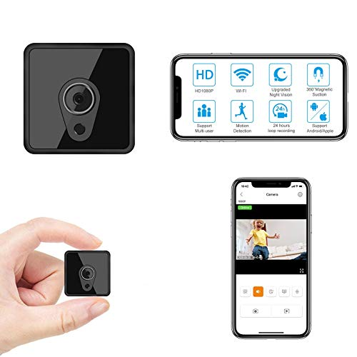 Relohas Mini Spy Camera Wireless, HD 1080P Hidden Camera Live Streaming, Small Security Camera WiFi Camera with Night Vision Motion Activated Spy Cam Nanny Cam for Home/Outdoor (with Cell Phone APP)