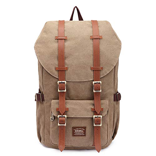 KAUKKO Mochila unisex para estudiantes de 17 pulgadas para portátil de 15 pulgadas, mochila informal, mochila para senderismo, 47 cm, 22,4 L, (caqui) (Naranja) - EP5AApricot