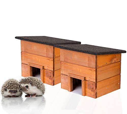 2x Igelhaus Igelhütte komplett Bausatz mit Zwischenwand und wetterfestem Dach Igelhotel für den Garten