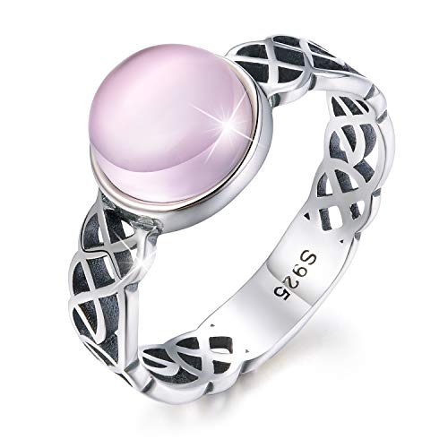 Anillos con nudo celta de plata de ley 925 chapados en oro de 18 quilates, anillos cruzados con piedra natural de labradorita o cuarzo rosa, para mujeres y niñas, de Esberry