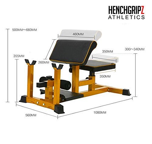 HENCHGRIPZ Commercial Sissy Squat Bench - Leg Machine - Extension - Heavy Duty Fitness Gym CrossFit with Preacher Curl
