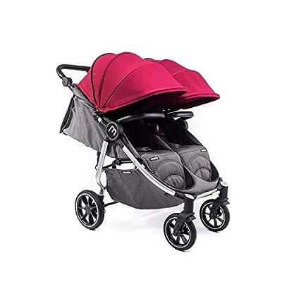 Silla Gemelar Easy Twin 4 Chasis Silver Baby Monsters Plástico de Lluvia y Barras Frontales incluidas Color Burdeos
