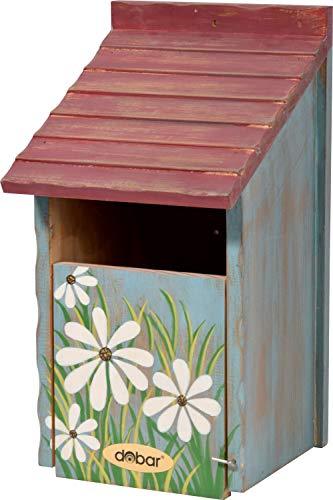 dobar Bunter Nistkasten mit Blumenmuster, Vogelhaus für Halbhöhlenbrüter, 15 x 14,5 x 28 cm, Kiefer, grün/rot, 22373FSCe