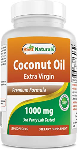 Best Naturals Extra Virgin Coconut Oil 1000 mg Softgel, 180 Count by Best Naturals
