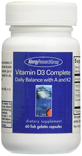 Allergy Research Group, Vitamin D3 Complete Daily Balance with A and K2, 60 Gels