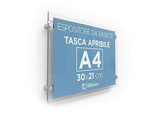 Espositore in plexiglass per avvisi, da parete, targa a tasca apribile in plexiglass, porta annunci e depliant formato A4orizzontale 30x21 cm, completa di distanziali in alluminio (1 pezzo)