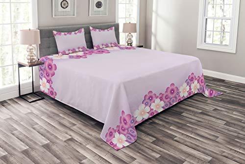 ABAKUHAUS Mauve Tagesdecke Set, Blumenblätter im Frühjahr, Set mit Kissenbezügen Sommerdecke, für Doppelbetten 220 x 220 cm, Rosa