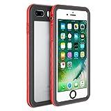 Fansteck iPhone 8 iPhone 7 Waterproof Case, IP68 Full-Body Protect Rugged Slim Crystal Case with Built-in Screen Protector, Waterproof/Snowproof/Shockproof/Dirtproof, 4.7 inch (Red/Black)