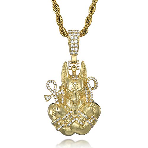 Aaa Iced Out Bling Cubic Zircon Copper Egypt Ankh Cross Pendants &necklaces For Men Jewelry With Rope Chain 60cm