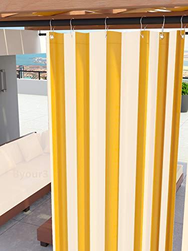 Toldos para exteriores con anillos colgantes Tejido antimoho impermeable Tejido de algodón recubierto de resina Toldo para balcones Terrazas Gazebos Caravanas tamaño maxi (Rayas Amarillo <290> x 290)