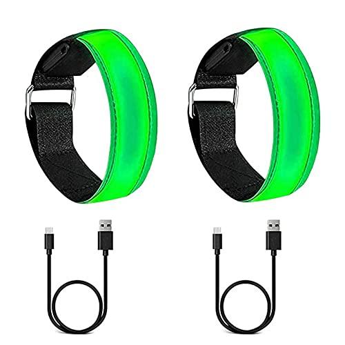 JeoPoom LED Armband[2 Stück], Leuchtband für Joggen, Leuchtarmband, USB Reflektorband Reflective Band, Blinkende und statische LED, für Laufen Joggen Hundewandern Outdoor Sports(Grün)