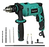 FastCraft Impact Drill Driver - Hammer Drill 9A PEAK POWER (Rated 5A) 1/2 Chuck 0-2800RPM Dual Switch 360° Rotating Handle (4pc Bits)