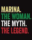Marina The Woman The Myth The Legend: Quaderno Piccolo a Righe, Diario Personale Per Marina , 120 Pagine a, '8x10'
