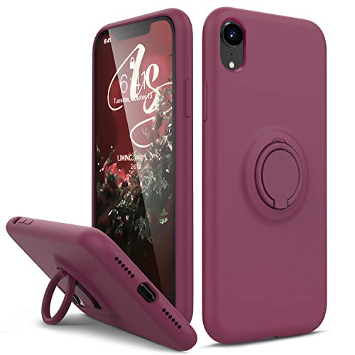 HAVVA for iPhone XR Case, [Silicone and Ring Kickstand Series] [Soft Anti-Scratch Microfiber Lining], Full Body Protective Bumper Case for iPhone XR Women Girls, WineRed
