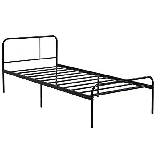 Bodhi2000 Moderne, strapazierfähige Black Bed Frame mit Support Headboard Footboard Room Decoration 90 * 200cm