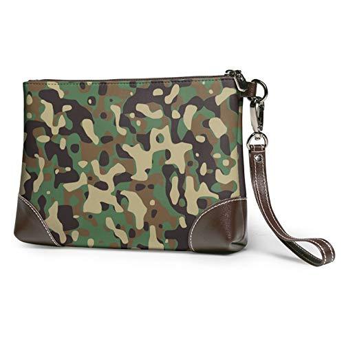 MGBWAPS Embrague de patrón de camuflaje verde, bolso de embrague de cuero, bolso cosmético, pulseras de bolso de embrague, (Como se muestra), Talla única