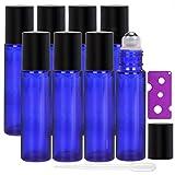 AlleDomain Lot de 8 Bouteilles de 10 ml d'huiles Essentielles Rechargeables en Verre Bleu Avec Billes en Acier Inoxydable