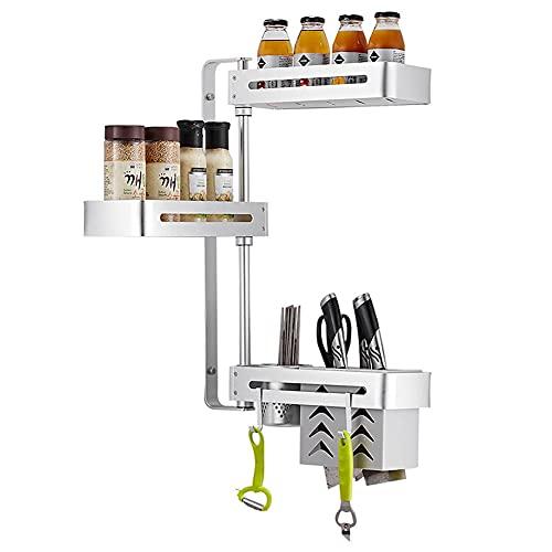 DROMEZ Especiero de Cocina Autoadhesivo, Organizador de Especias Pared con Tres Estantes Ganchos, Estante para Especias Aluminio para Condimentos Botelas,Plata