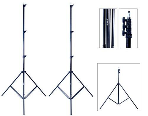 Phot-R 2x 3m Hochleistungs Aluminium Leicht Lichtstativ Verstellbarer 4-teiliger für Fotostudio-Beleuchtung Blitzlicht Fotografie