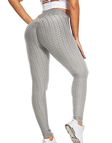 Qric Pantalones de yoga anticelulitis para mujer, push up, pantalones de yoga, pantalones de yoga, leggings de cintura alta gris S