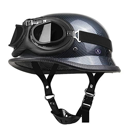 German Style Retro Half Helmet Motorcycle Helmet with Goggles Scooter Cruiser Chopper Moped Open Helmet ECE Certified All Seasons Unisex Open Face Helmet (Black,) B,L