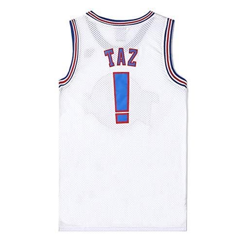 Space Jam Movie Taz #! Camiseta de Baloncesto, Traje de Entrenamiento de Uniforme de Baloncesto de Verano Chaleco Camiseta Deportiva, Camiseta de Malla Impresa (S-3XL)-White-M
