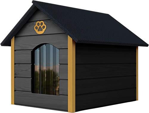 Novamat Hundehaus aus Holz - Gemütliches und stilvolles Haus für Ihren Hund mit isolierten Wänden - Wasserdicht - Größe XL (XL, Grau - Gelb)