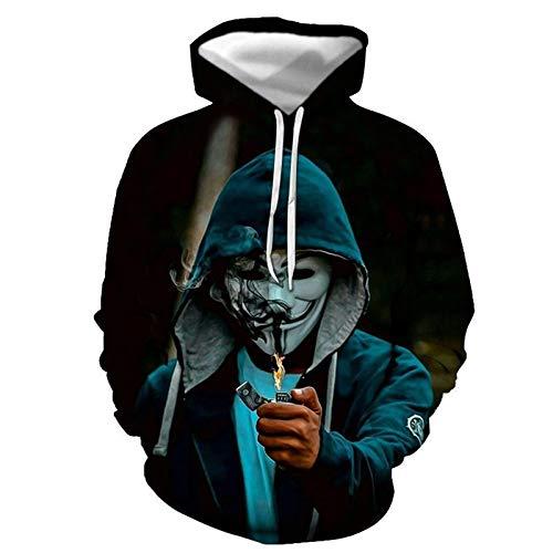 New 3D Clown Male Print Hooded Round Neck Sweater Herren Casual Sweater Sweatshirt Hoodie Gr. 6XL, Wy-942