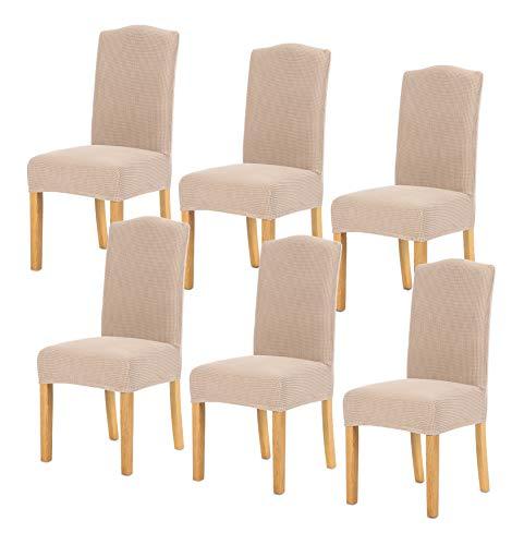 TIANSHU Fundas para sillas 6 Piezas,Poliéster Elástica Fundas sillas Duradera Modern Bouquet de la Boda Hotel Decor Restaurante(6 Piezas,Arena )