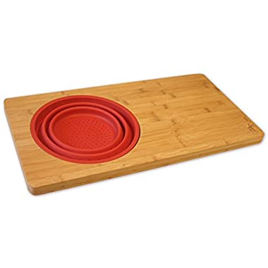 Over-the-Sink 18-inch Bamboo Cutting Board with Colander, Fits Over Most Sinks with Removable and Collapsible Strainer/Steamer - Made with Earth Friendly Anti-Microbial Bamboo - by Island Bamboo