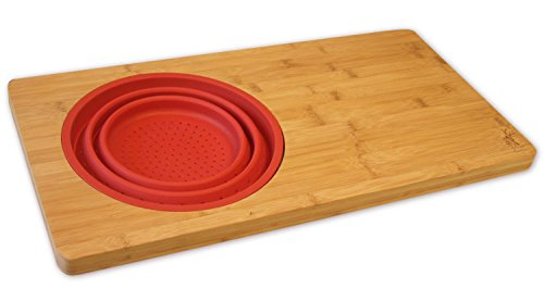 Island Bamboo Kitchen Cutting Board - Over the Sink Cutting Boards with Collapsible Strainer, Perfect Large Wooden Bamboo Sink Shelf for Chopping, Slicing, and Dicing, 18' L X 10' W