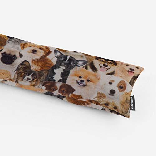 SCHÖNER LEBEN. Zugluftstopper Digitaldruck Hunde Welpen braun weiß schwarz Verschiedene Größen, Auswahl:100cm Länge