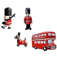 BESTOMZ 4ピースクリスマス冷蔵庫ステッカーイギリス兵ロンドンバス犬形樹脂マグネット冷蔵庫ステッカー