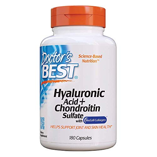 Doctor's Best Hyaluronic Acid with Chondroitin Sulfate, Non-GMO, Gluten Free, Soy Free, Joint Support, 180 Caps