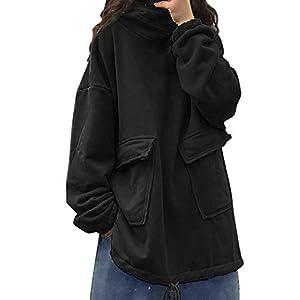 Women's Casual Loose Fleeced Pullover Tops Hooded Long Sleeve Sweatshirt