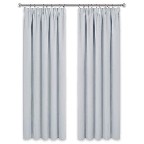 PONY DANCE Grau-Weiß Vorhang Kräuselband - (2er Set H 228 x B 228) Thermo Gardinen für Sonnenschutz & Sichtschutz Extra Breite Vorhänge für Größe Fenster Dekoschals