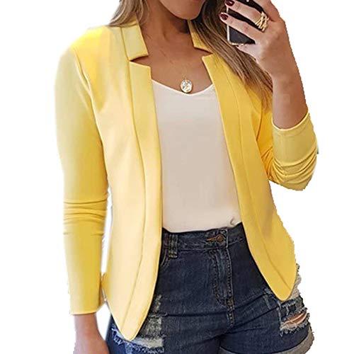 LaiYuTing 2020 Herfst/Winter Mode Dunne Lange Mouw Vest Casual Blazer - geel - 4XL