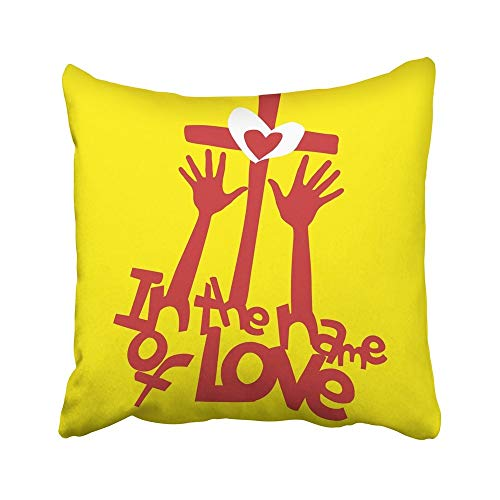 AEMAPE Fodere per Cuscini Decorativi Custodie nel Nome Love Hands Worship Heart 40X40 Cm Federe Fodere per Cuscini Cuscino Two Sided
