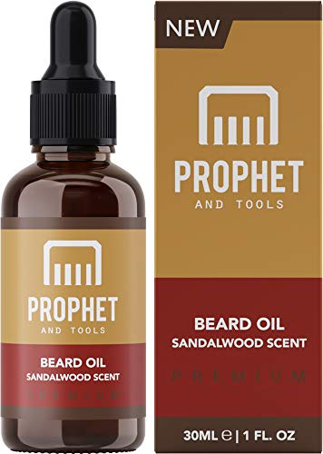 PREMIUM Sandalwood Scent Beard Oil for Healthier Facial Hair Grooming - All Natural Conditioner and Shampoo-like Softener, Shine and Fuller Beards & Mustache Growth - NUTS-FREE & VEGAN! Prophet