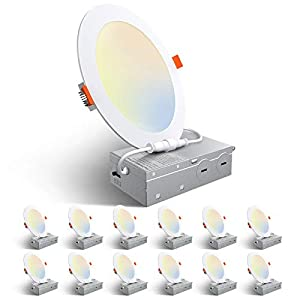 Amico 12 Pack 6 Inch 5CCT Ultra-Thin LED Recessed Ceiling Light with Junction Box, 2700K/3000K/3500K/4000K/5000K Selectable, 12W Eqv 110W, Dimmable Can-Killer Downlight, 1050LM High Brightness - ETL