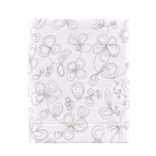 Essix - Drap Plat Esquisse Percale de Coton Blanc 180 x 290 cm