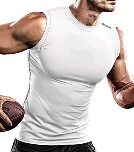 DRSKIN Men's Compression Shirt Tank Tops Undershirts Running Dry Cool Baselayer Sleeveless Workout Gym (STW13, L)