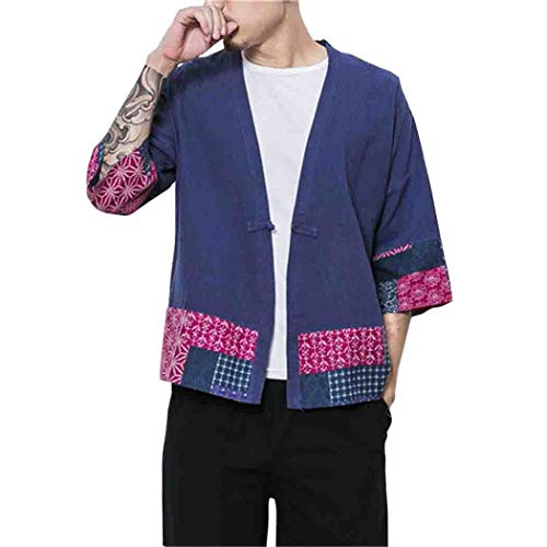 MISSMAOM_Fashion2019 Herren Japan Happi Kimono Haori Jacke Übergangsjacke Baumwolle Leinen Mäntel,Marine,XL