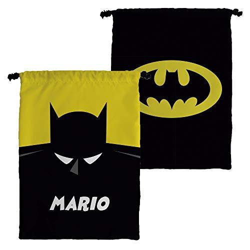 Bolsa Merienda Superhéroes Personalizada con Nombre | Regalo Friki | Vuelta al Cole | Varios Diseños a Elegir | Batman
