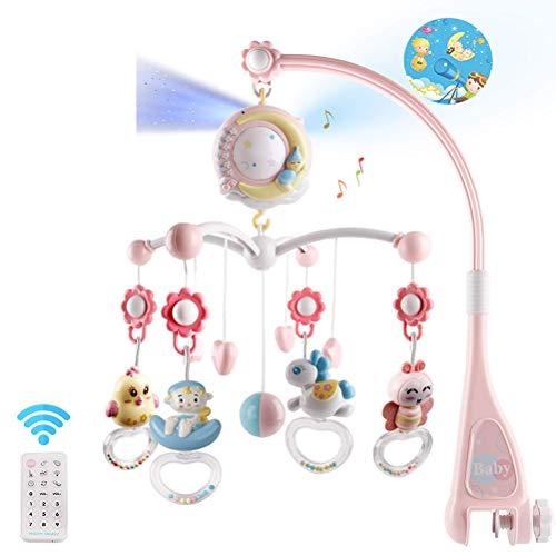 Giostra Musicale Neonato, Mobile Giostrina Culla Neonato, Sonagli Rotanti Pendenti E Carillon Con Telecomando Con Projector Baby Educational Toys (Rosa)