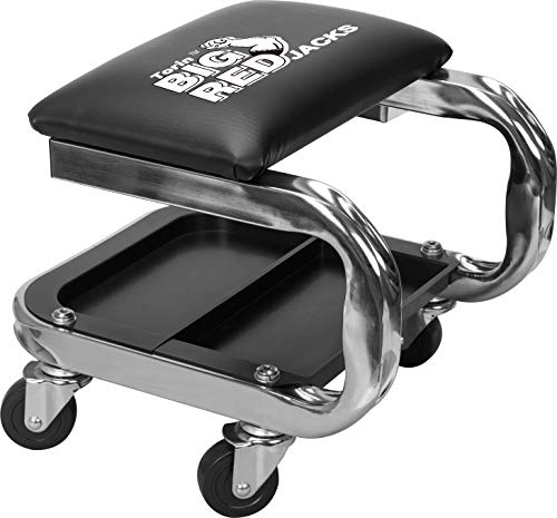 BIG RED AR7451B Torin Heavy Duty Rolling Creeper Garage/Shop Seat: Padded Mechanic Stool with Tool Tray Storage and Cup Holder, Black