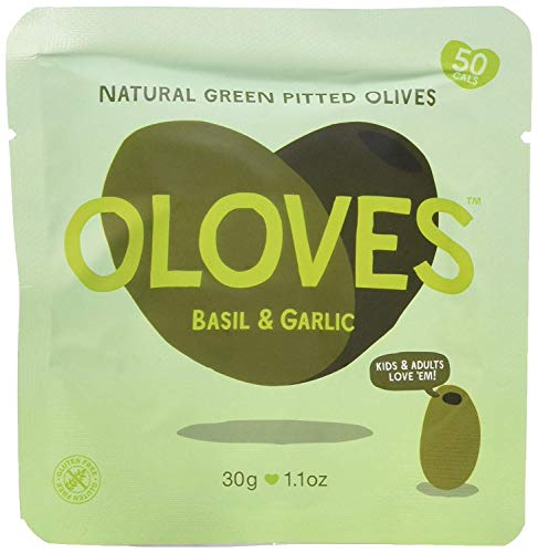 OLOVES Basil & Garlic | Fresh Green Pitted Olives | All Natural | Healthy Snack | Vegan | Gluten Free | Kosher | Low Cal | 20-Pack (1.1oz Bags)