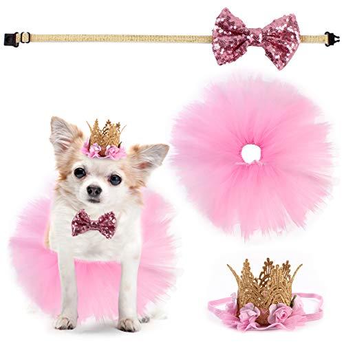 Yuehuam 3-teiliges Set Haustierkleidung Hund Hochzeit Kleid Mädchen Tutu Rock Schleife Krone Hut für Welpen Geburtstag Party Zubehör Rosa Geschenk für kleine Hunde